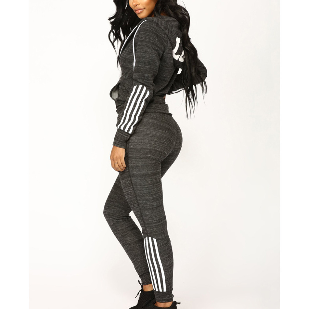 2 Piece Tracksuit Set Woman Hooded Sports Set Survetement Women's Stripe Sweatshirt Set Jogging Femme Ropa Mujer 2019 Cg