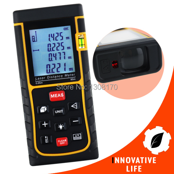Industrial Construction Use 80 Meter Area Volume Pythagorean Digital Laser Distance Range Finder w/ Spirit Level 80m (262ft) 80m laser distance meter area volume pythagorean measurement spirit bubble level industrial tool