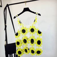 2018 Women Summer Short Vest Beachwear Sexy Hollow Out O Neck Sunflower Lace Sleeveless Crop Tops