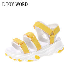 E TOY WORD Women Sports Sandals Platform 2019 New Summer Casual Comfortable Thick Sole Beach Shoes