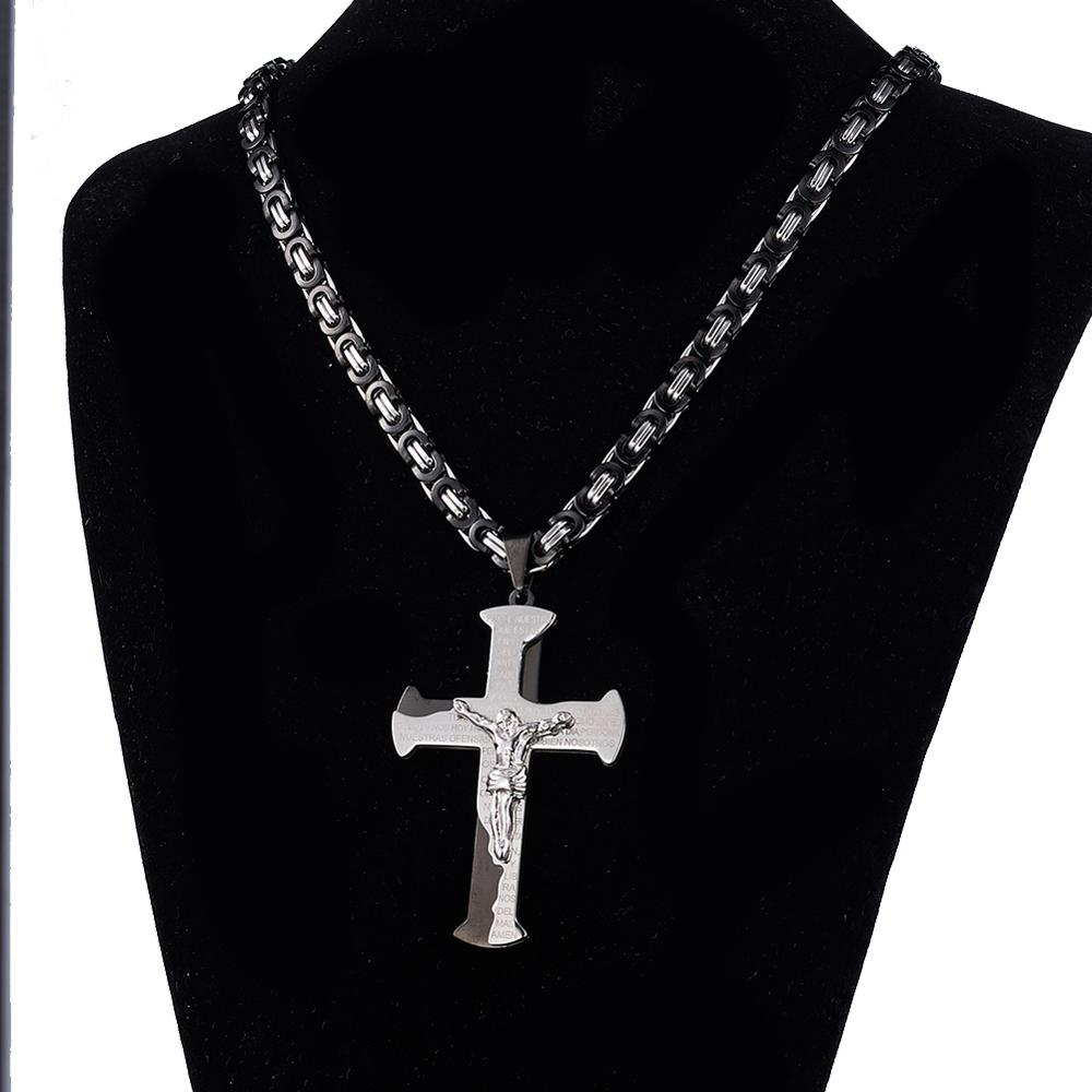 Granny Chic 316L Stainless Steel Jesus Christ Cross Pendant Necklace 6mm Byzantine Link Chain Silver Gold Black Men Boys Gift in Chain Necklaces from Jewelry Accessories