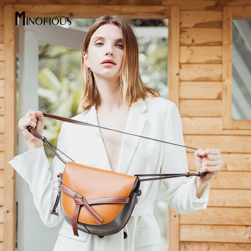MINOFIOUS Women Genuine Leather Saddle Bag Fashion Casual Real Leather Solid Shoulder Bags Europe and America Messenger Bag MINOFIOUS Women Genuine Leather Saddle Bag Fashion Casual Real Leather Solid Shoulder Bags Europe and America Messenger Bag