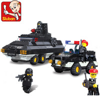 Candice guo plastic block toy building model game city police special policeman Armoured Patrol Team birthday gift assemble 1set
