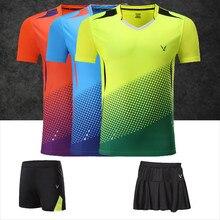 Adsmoney/набор мужских и женских теннисных рубашек высокого качества, дышащая быстросохнущая футболка с v-образным вырезом для бадминтона и настольного тенниса+ шорты