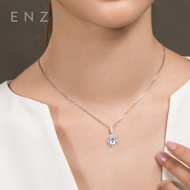 Precious Collections Blue Topaz/Diamond Pendant 18K White Gold Natural Gemstone Fancy Design For Woman's pendants Necklace 5