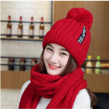 Women Hats 2018 Autumn And Winter Fashion Brand Scarf Knitting Two Piece Gorros Casual Cap Chapeu Feminino Bone