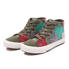 Women shoes high canvas shoes women fashion casual shoes for women Color block decoration