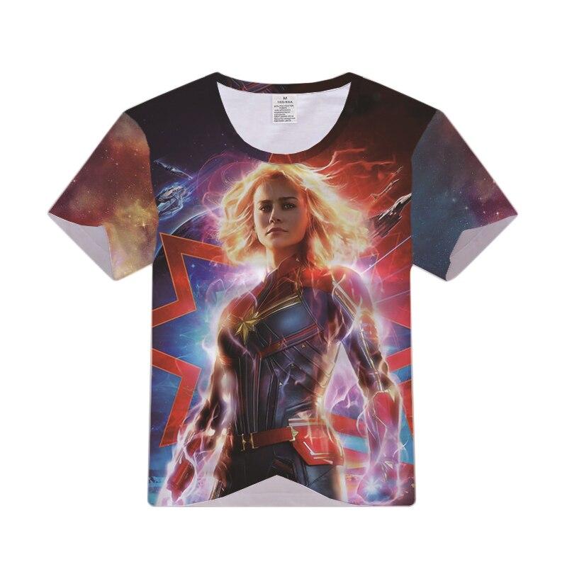 Superhero Captain Marvel T-shirt Cosplay Costume Ms. Marvel Carol Danvers Men Women Fashion Casual T Shirt Short Sleeve Tees