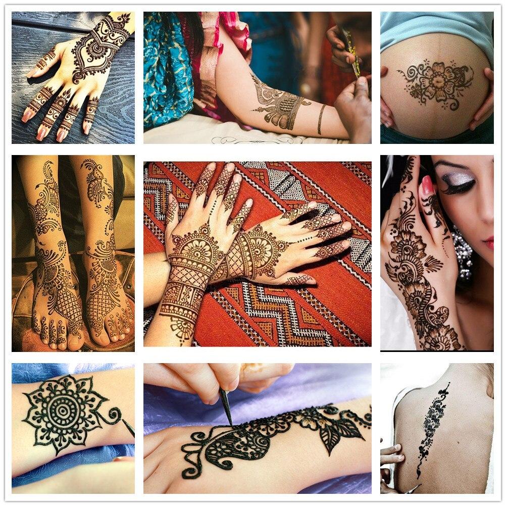 12 Pcs Preto Natural Da Planta India Colar Cones Mehndi Henna