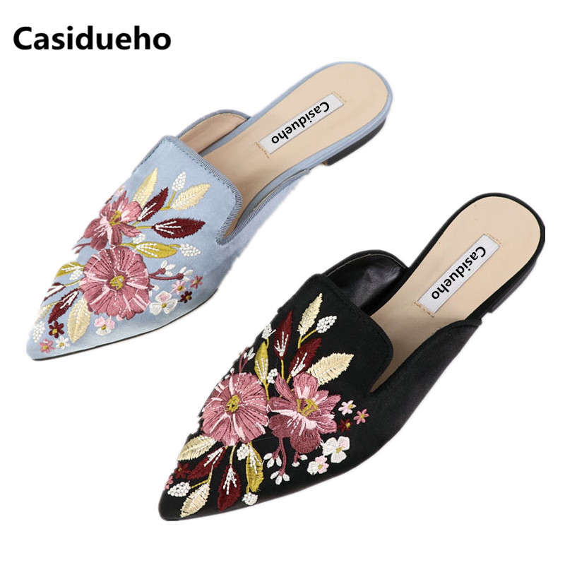 Casidueho Embroidery Women Slippers Pointed Toe Flats Dress Shoes Woman Slip On Sandals Leather Slides Summer New Flip Flops фото