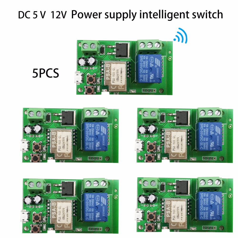 5st DC 5V 32V Sonoff WiFi Smart Switch DIY-relämodul Smart Home via Ios Android-telefon fjärrkontroll Automatiseringsmoduler