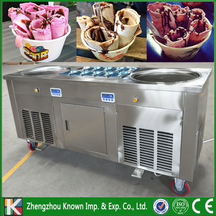 2 UNITS of KN-CBJY-2D10A fried ice cream roll machine/ice pan machine with 2 round ice pans 10 cooking tanks and 1 refrigerator fried ice cream machine single round pan ice cream roll machine with salad fruits workbench 6 pcs tanks cooling and a fridge