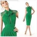2016 sereia verde cocktail dress festa da luva do tampão alta pescoço curto chiffon mulheres formal vestidos plissados custom made social
