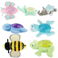 Baby Sleep LED Lighting Stuffed Animal Led Night Lamp Plush Toys With Music Stars Projector Light