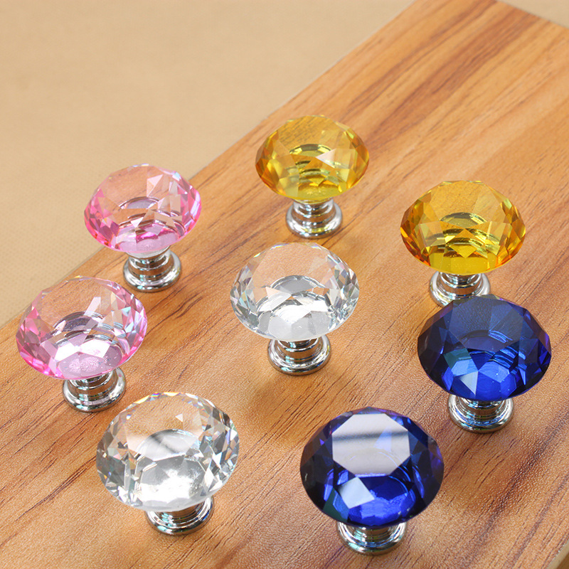 30mm Glass Dresser Knob Drawer Handles Pulls Chrome Silver Clear Pink Yellow Blue Modern Crystal Cupboard Cabinet Pull