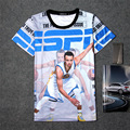 Verão 3D Imprimir T-shirt de Algodão Unisex Tee jogador Camisas Adolescente Solto Homme Fãs Tops Estrela Guerreiros Stephen Curry ESPN