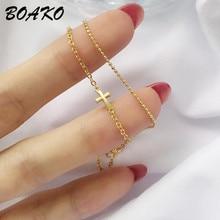 Fashion Double Layer Cross Charm Bracelets For Women 925 Sterling Silver Jewelry Adjustable Gold Chain Bracelet & Bangle Gifts недорого