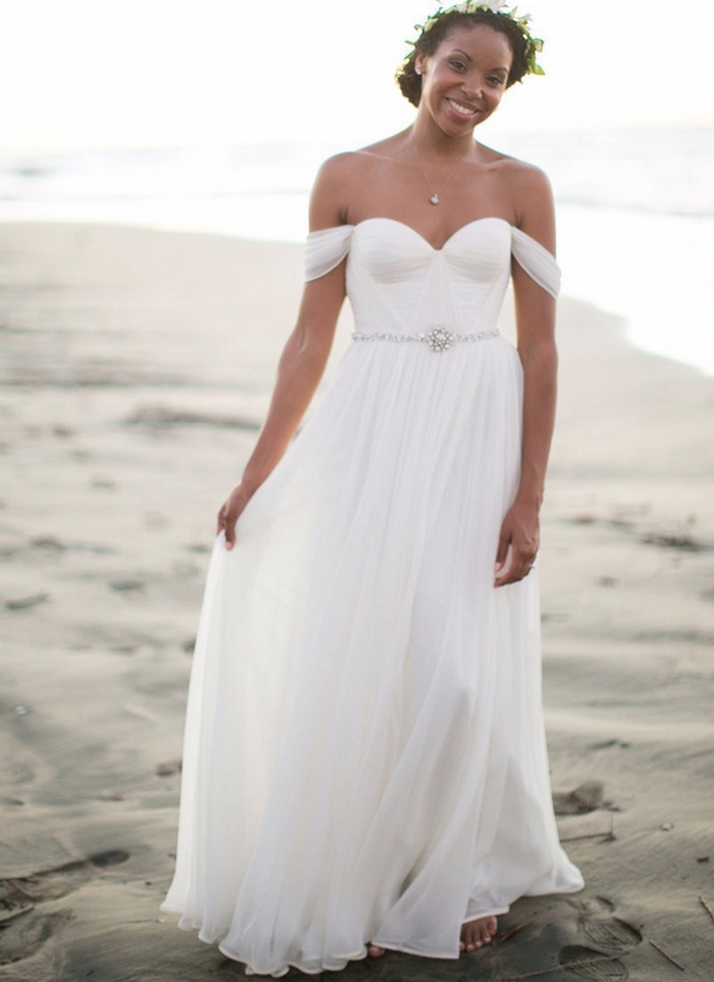 Online get cheap bohemian bridal dresses for Off the shoulder beach wedding dresses