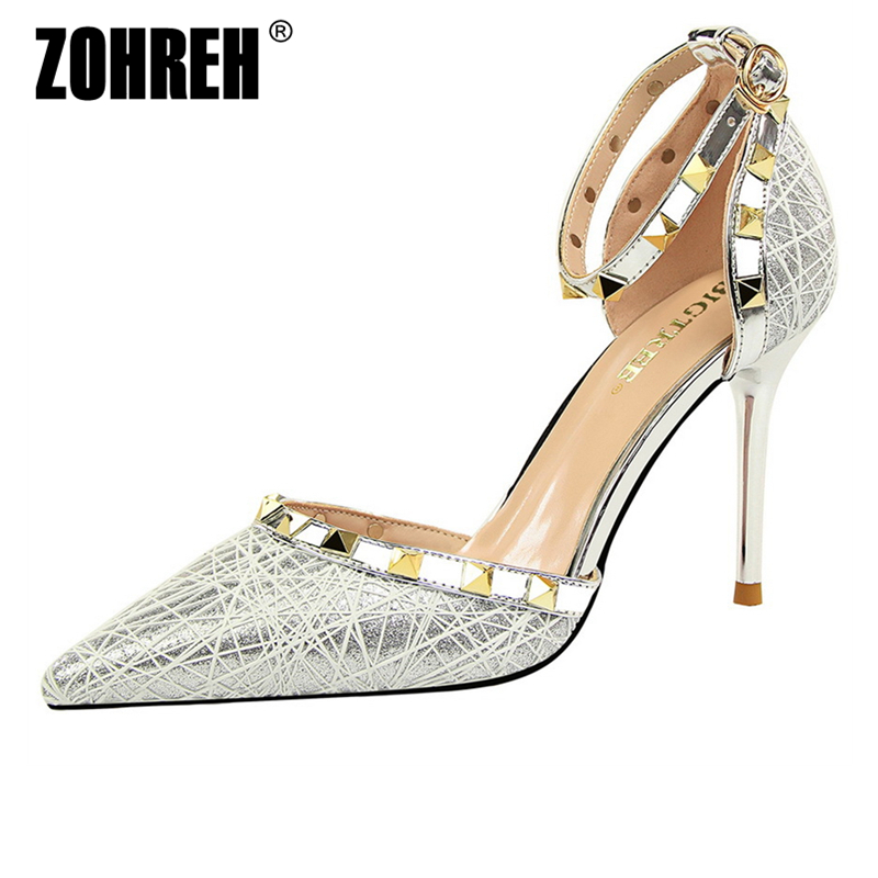 2019 Women Pumps Bling Women Shoes High Heels Fashion Classic Pumps Women Wedding Shoes Gold Silver Female Heels Ladies Shoes