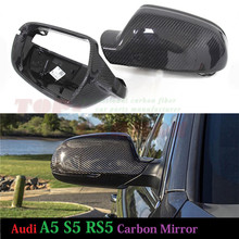 1:1 Replacement for Audi A5 S5 RS5 Carbon Fiber Mirror Cover Rear View 2010 2011 2012 2013 2014 2015 2016 Without Lane Assit