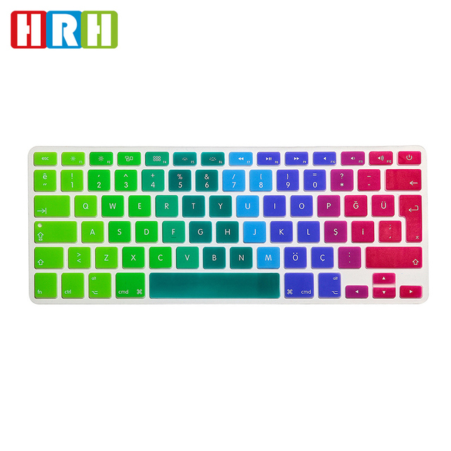 dbc2e767fe6 HRH EU/UK Rainbow Turkish Language Silicone Keyboard Skin Cover Protector  Protective Film For MacBook Pro Retina Air 13