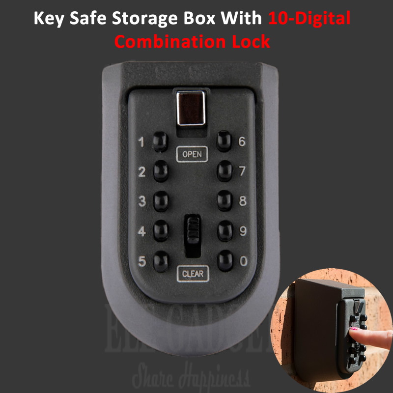 New Black Heavy Duty Key Hidden Storage Safe Box With 4-Digital Password Lock Weatherproof Case For Home Carvan Office RV