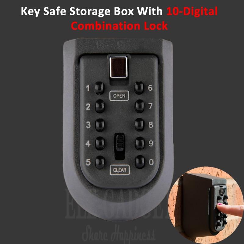 New Black Heavy Duty Key Hidden Storage Safe Box With 4-Digital Password Lock Weatherproof Case For Home Carvan Office RV