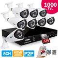 ZOSI CCTV Segurança Sistema de Câmera 8CH HDMI 1000TVL DVR Ao Ar Livre sistema de câmeras de Vídeo À Prova de Intempéries Câmeras HDD 1 TB seguranca