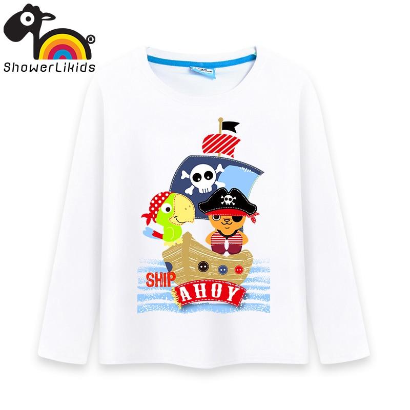 Cotton long sleeve children t shirts,game boys girls figure kids wear Classic love pirate captain child king L016003