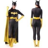 Черный костюм Бэтмена для взрослых женщин костюмы на Хэллоуин для женщин сексуальные Batgirl супергероя косплей боди Зентаи маска мыс на заказ