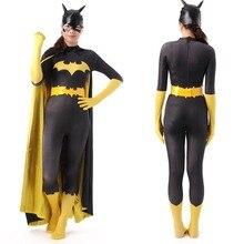 Negro batman disfraz adulto mujeres disfraces de halloween para las mujeres sexy batgirl superhéroe cosplay zentai traje capa máscara personalizada