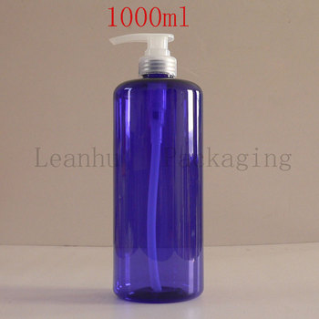 Blue Plastic Packaging Lotion Cream Pump Shampoo Bottles,1000ML Refillable Cosmetic Containers And Packaging Container,Wholesale