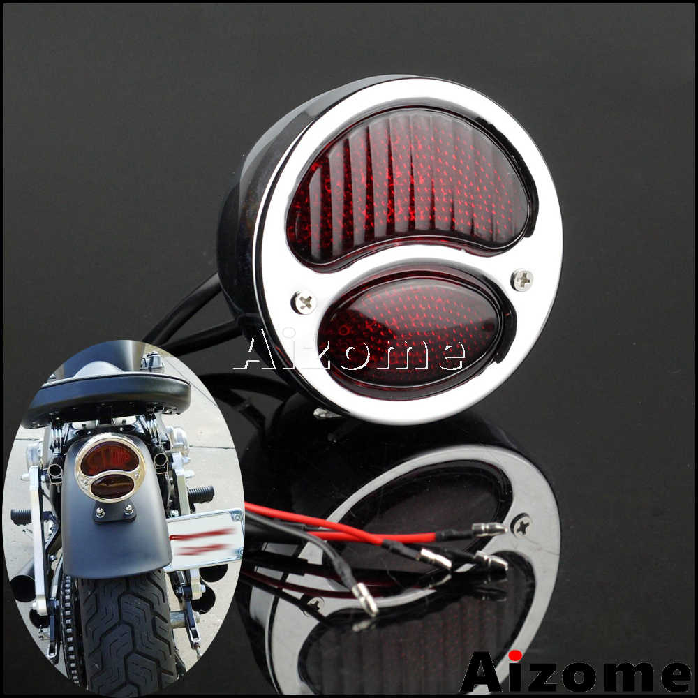 Chrome Motorcycle Rear Brake Tail Light Cafe Racer Choppers Cruisers Custom CB