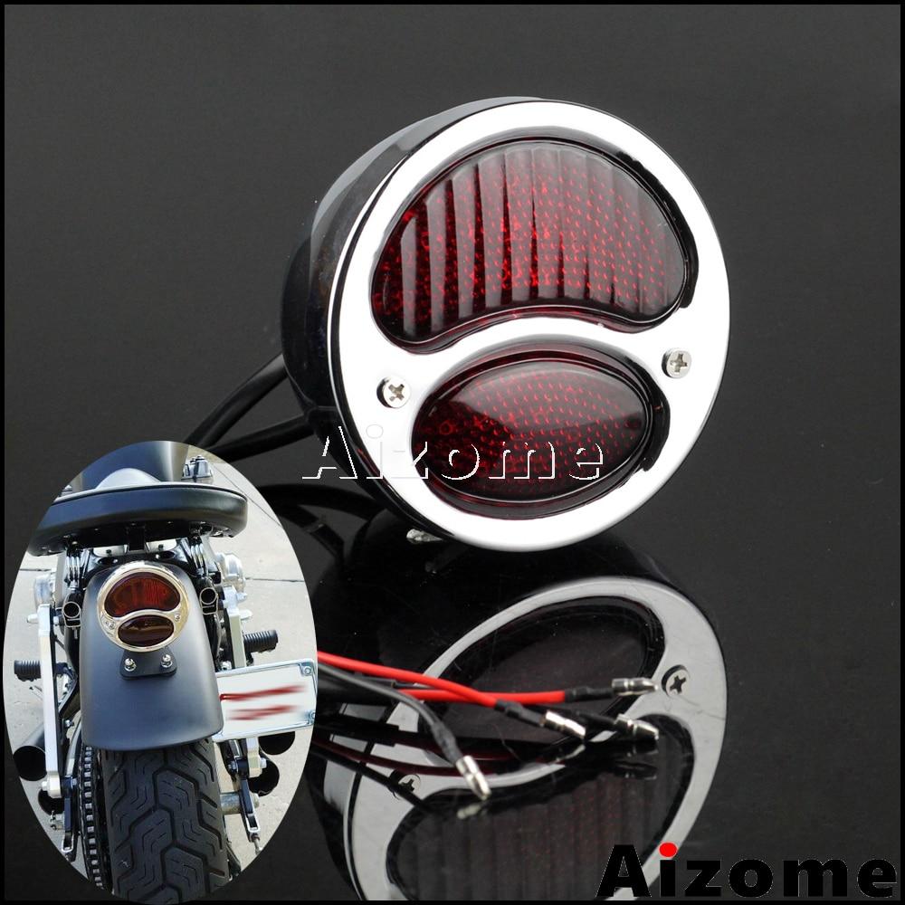 Chrome Red Motorcycle LED Tail Light For Harley Chopper Bobber Cafe Racer Duolamp Vintage Rear Stop Lamp Brake Light