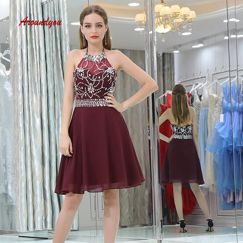 Sexy Burgundy Short   Cocktail     Dresses   Plus Size Mini Semi Formal Graduation Prom Party Homecoming   Dresses