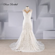 Rosabridal  Mermaid Wedding Dress China Online Sale Women beaidng on round collar and shoulder Lace Appliques Bridal Gown