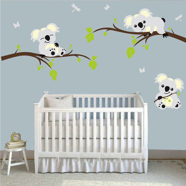 Personalized wall decal koalas trees home wall sticker nursery baby kids room home decoration accessories