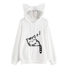 Women Hoodies Sweatshirts Womens Cat Long Sleeve Hoodie Sweatshirt Hooded Pullover Tops