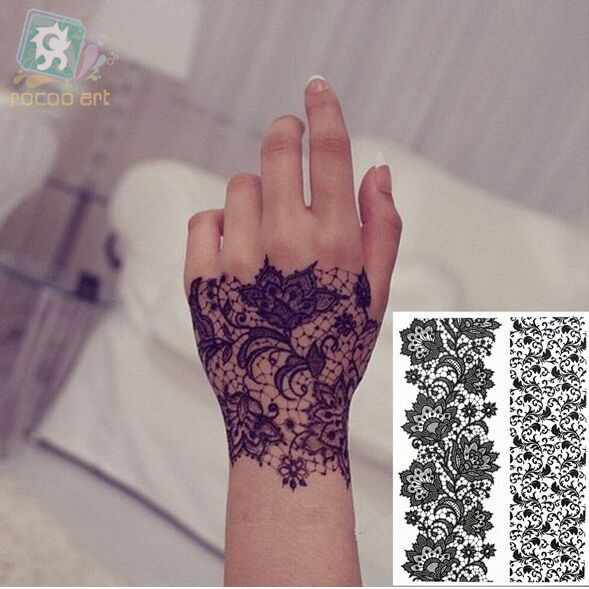 LS617/Rocooart beautiful big eco-friendly henna temporary Indian flower tattoo black lace sticker bracelet