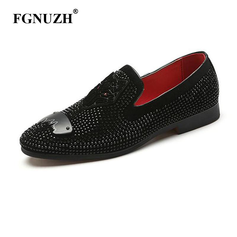 FGNUZH Black Glitter Men Loafers Elegant Wedding Party Dress Shoes Luxury Brand Men's Flats shoes Plus Size ST379(China)
