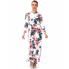 FLORATA Casual Floral Print Long Sleeve Round Neck Vintage Maxi Dress Ladies Elegant Sundresses Beach Party Holiday Dress(China)