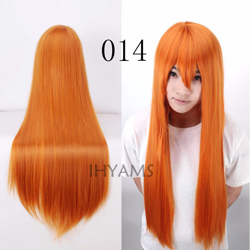 80cm Long Straight EVA-Asuka Orange Cosplay Costume Wig + Wig Cap