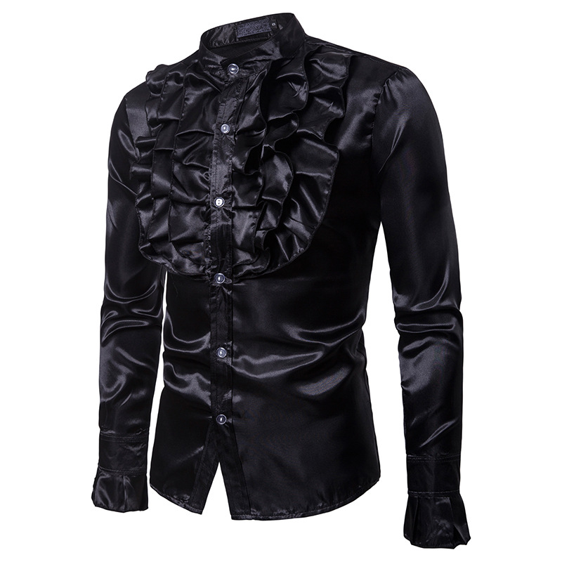 Image 3 - Vintage Chest Flower Palace Tuxedo Men Shirt Silk Satin Smooth Petal Sleeve Shirts Men Dress Stage Wedding Prom Chemise Homme-in Tuxedo Shirts from Men's Clothing
