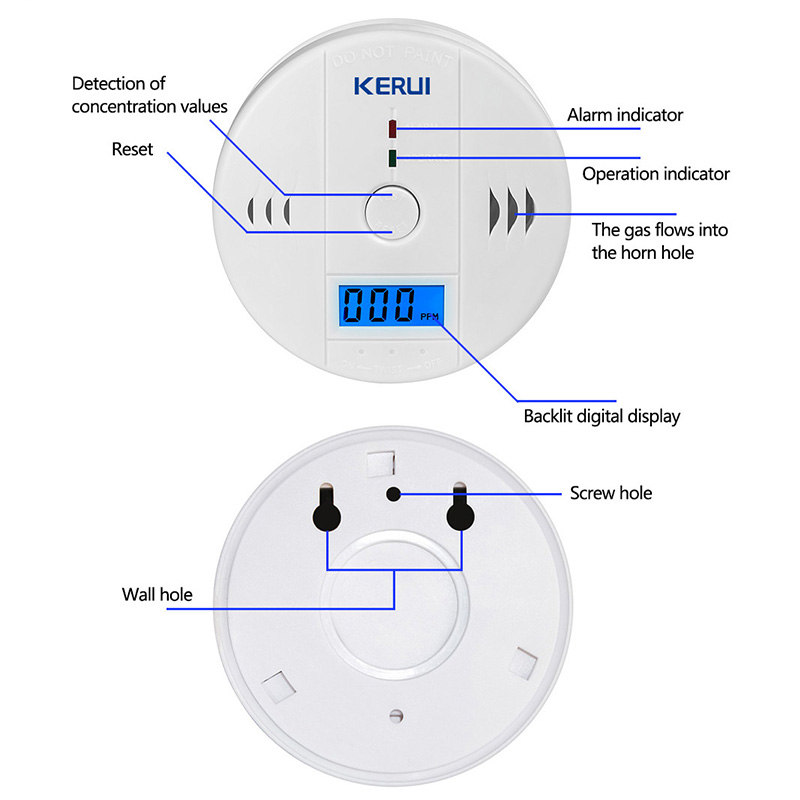 KERUI 10pcs Work Independent Alone Built-in 85dB siren sound LCD CO Sensor Carbon Monoxide Poisoning Warning Alarm Detector