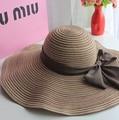 Gran Sombrero de Ala Del Verano de Las Mujeres 2016 Strawhat Plegable Sombrero Sunbonnet Femenino Del Verano Del Padre-niño Del Verano Gran sombrero para el Sol Sombrero de la Playa Cap
