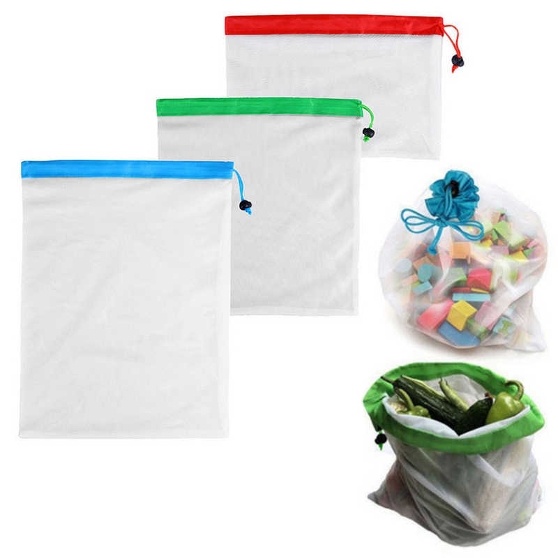 Reusable Produce Bags for Grocery Shopping Storage Sundries Organizer fruit and vegetable onion Kitchen Storage Bag Eco friendly