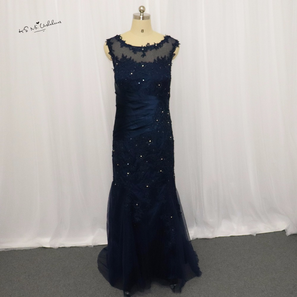 Navy blue mermaid evening dress lace beaded long mother of for Navy dresses for weddings