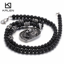 Kalen New Gothic Lion Head Pendant Necklaces For Men Stainless Steel Glass Beads African Long Necklace Punk Hip Hop Jewelry