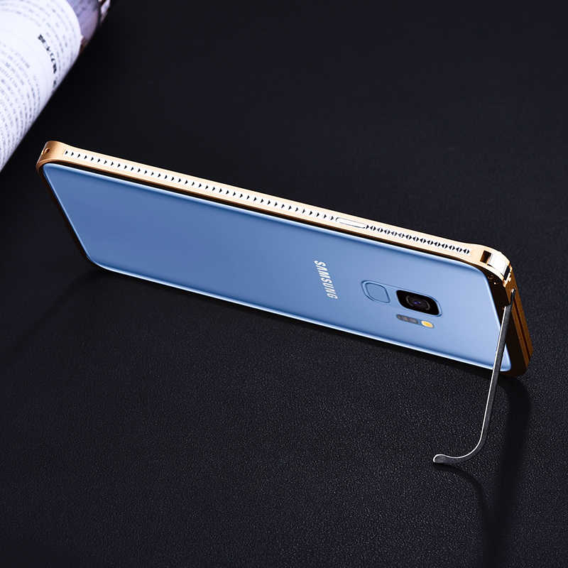 Original iMatch Bumper Case For Samsung Galaxy S9/ S9 Plus Luxury Diamond Aluminum Metal Invisible Kickstand Case Bumper S9 Plus