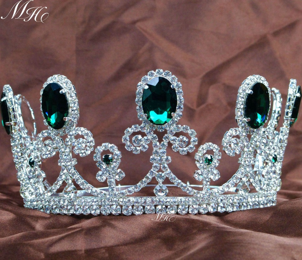 Green Crystal Tiaras Clear Rhinestones Crowns 3.5